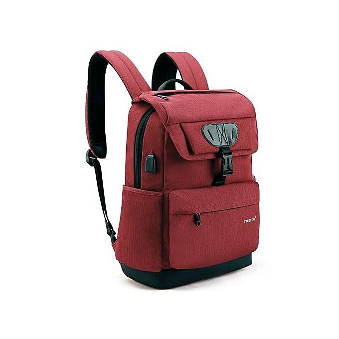 Fashion 15.6 Laptop Men's Backpack USB charging Bag rouge à prix pas cher