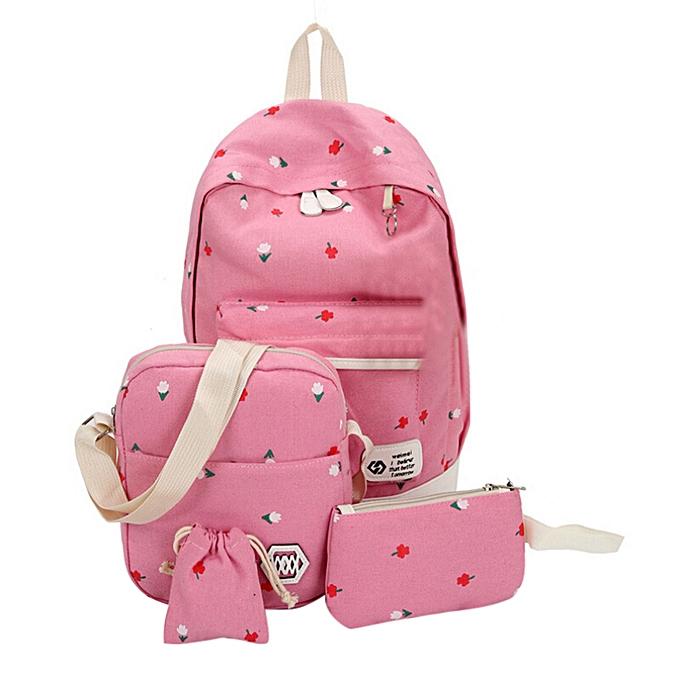 OEM mode Students toile Shoulder sac grand sac à dos Pouch Four Sets Girls PK à prix pas cher