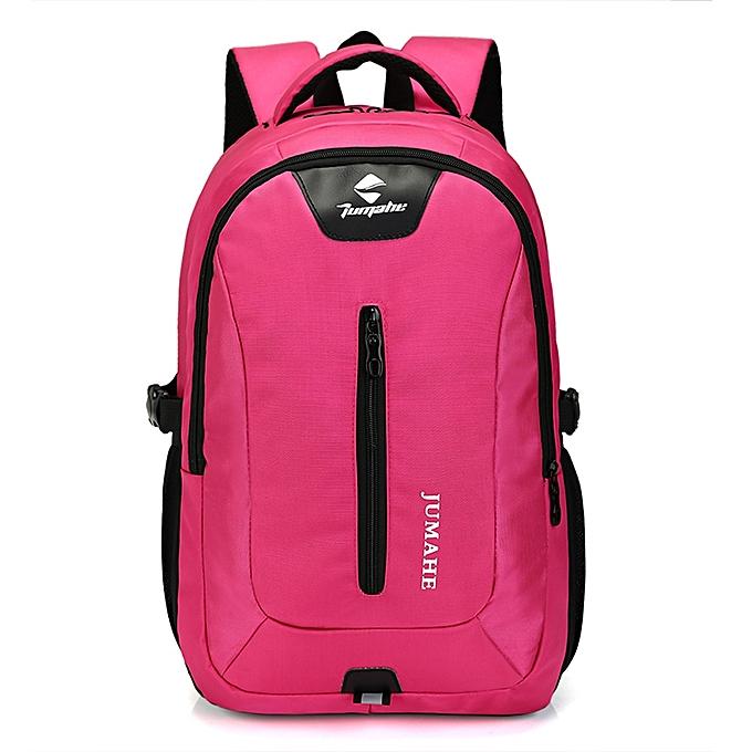 mode Tcetoctre Causl Neutral Nylon sac à dos Solid Couleur Hommes voyage Student School Laptop sac -Hot rose à prix pas cher