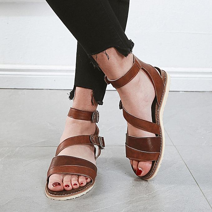 mode femmes Ladies Flat Cross Belt Buckle plage Sandals Rohomme chaussures à prix pas cher