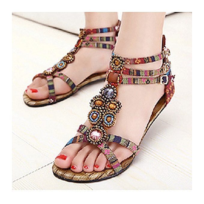 Fashion Bohemia Bead Crystal Zipper Peep Toe Beach Sandals à prix pas cher