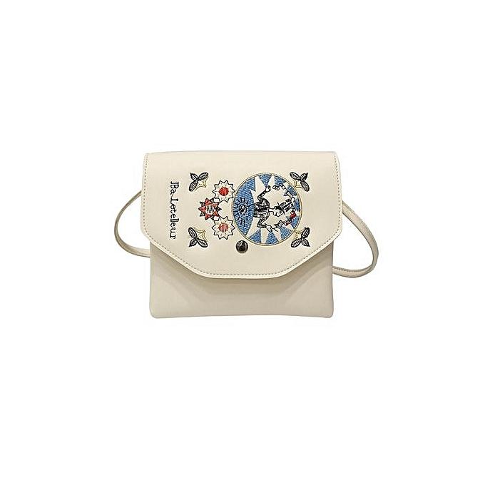 nouveauorldline femmes nouveau mode Embroid Handsac Shoulder sacs bourse Messenger sac WH-blanc à prix pas cher