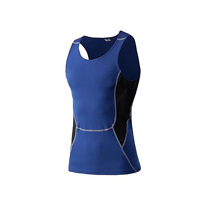 Other Men's Elastic Quick Dry Fitness Basketball Vest -bleu à prix pas cher