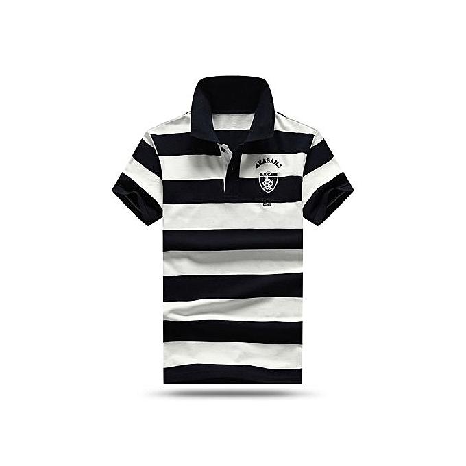 mode High quality Hommes polo shirt nouveau été Décontracté rayé cotton Pour des hommes polo Contrast Couleur polo shirts-bleu à prix pas cher