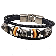 Popular And Elegant Chinese Style Retro Alloy Jewelry Leather Bracelet-Black 00456a6e6373
