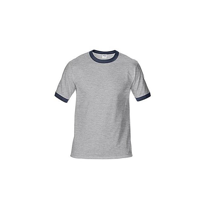 Generic Men's DryBlend Preshrunk Contrast Neck T-Shirt (gris Navy) à prix pas cher