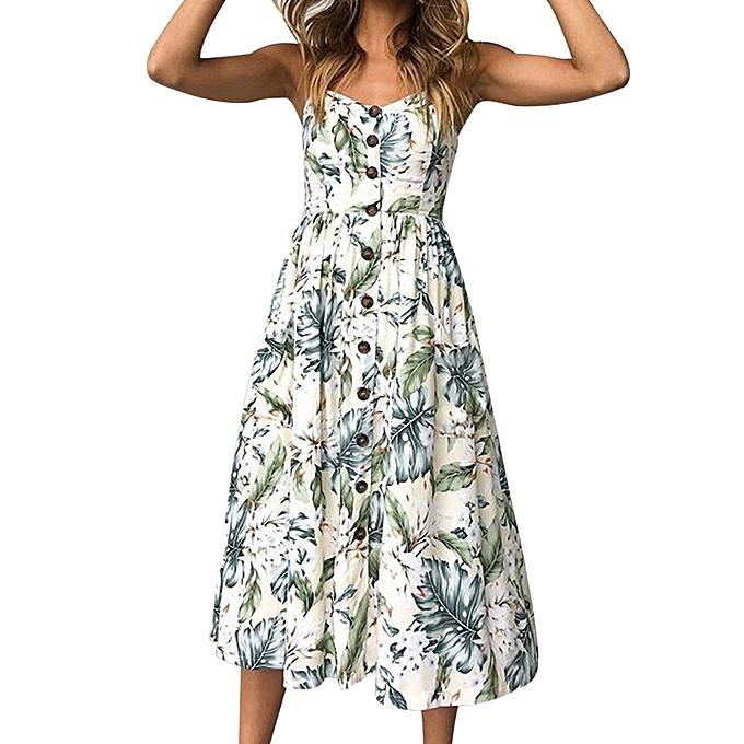 mode jiahsyc store femmes  impression Buttons Off Shoulder Sleeveless Robe Princess Robe L-vert à prix pas cher