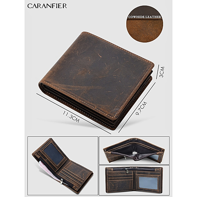 Other CARANFIER Mens Briefcases  Cowhide Leather Clic Crossbody Travel Bags Male Vintage Quality Shoulder Messenger Bags(Cowhide Wallet Only) à prix pas cher