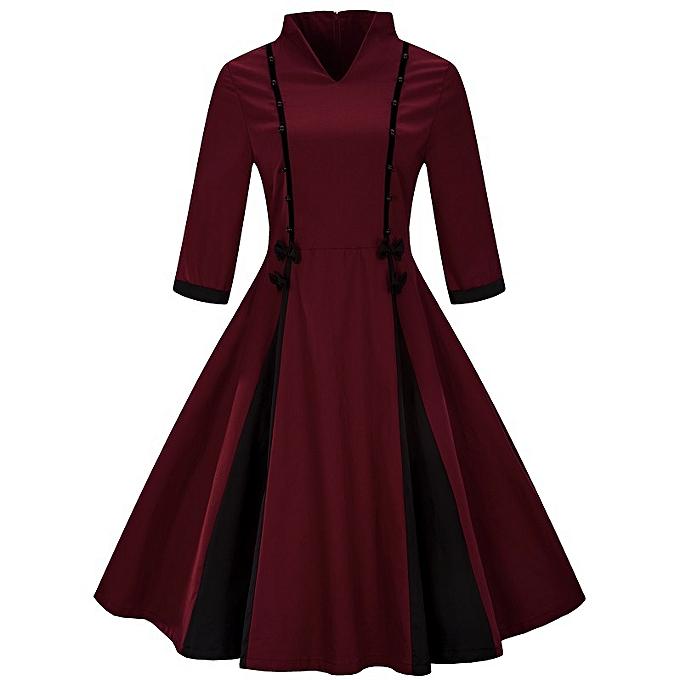 mode Vintage Solid Couleur Robe for femmes - rouge à prix pas cher