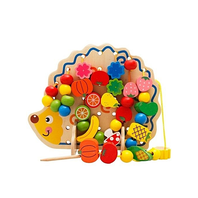OEM 82pcs Happy Cherry Wooden Fruits baby Vegetables kids lego kids Beads Toys Hedgehog Board Toddlers à prix pas cher