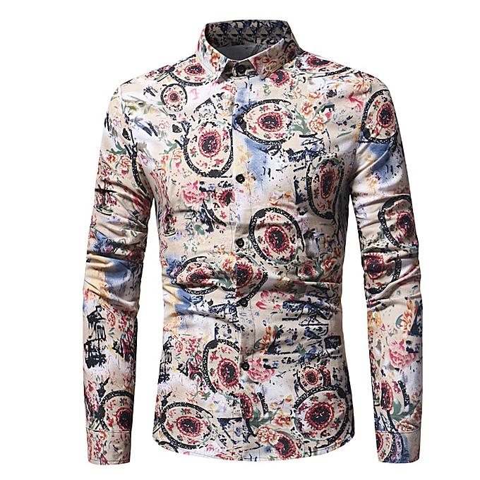Fashion Fashion Personality Men's Casual Slim Long-sleeved Printed Shirt Top Blouse  -Khaki à prix pas cher