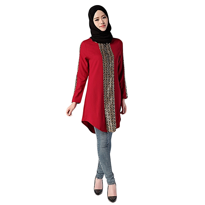Generic Generic Muslim femmes Islamic Print Plus Taille Muslim service Tops Easy Blouse A1 à prix pas cher
