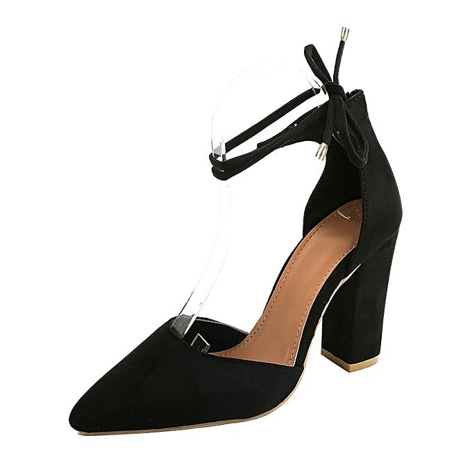 Générique Sedectres WoHommes  Solid Color Pointed Pointed Color Shoes Thick Heel Suede High Heeled Shoes Sandals Black-Black à prix pas cher  | Jumia Maroc 7ae314