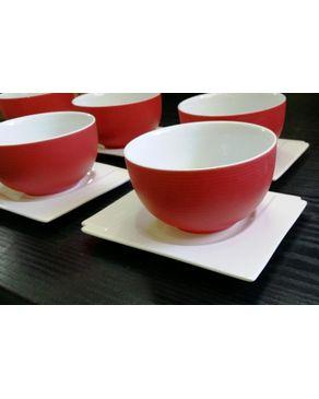 Maison porcelaine 6 plats carr s blancs 6 bols rouges acheter en ligne - Maison porcelaine maroc ...