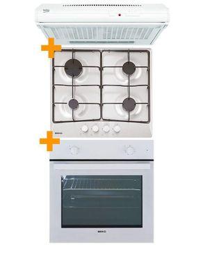 trio encastrable blanc four elect 67 5l 2200w plaque 4 feux gaz hotte aspirante. Black Bedroom Furniture Sets. Home Design Ideas