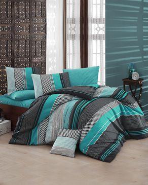 nazenin housse de couette cottonland 6 pi ces bleu turquoise acheter en ligne jumia maroc. Black Bedroom Furniture Sets. Home Design Ideas