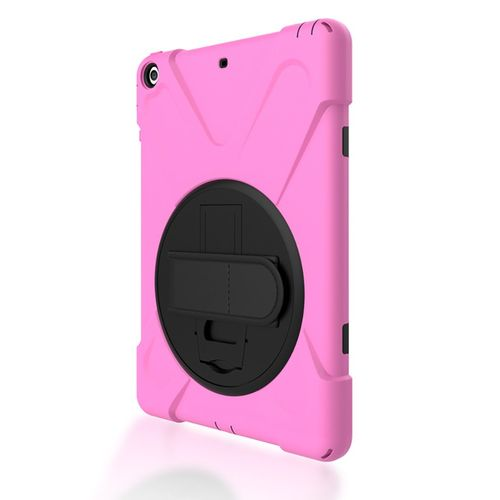 MT Shockproof Dustproof Silicone Protective Cover Rotating Bracket For Ipad air-pink and green bicolor-
