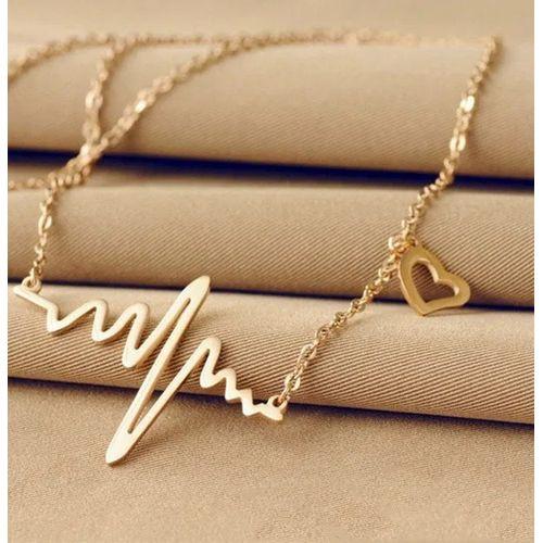 Collier Doré Pendentif avec petit coeur et Ondes cardiaques chic -bijoux -