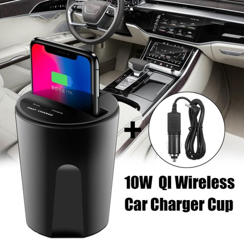 3PCS 10W Fast Qi Wireless Charger Car Cup Holder USB Output For iPhone X 8 Samsung S8