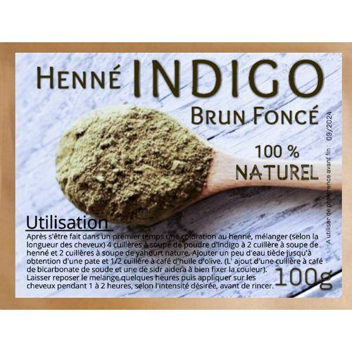 100g HENNÉ INDIGO EN POUDRE 100% NATUREL. POUDRE SANS PRODUITS CHIMIQUES. Colorant capillaire végétal Indigo BRUN FONCÉ