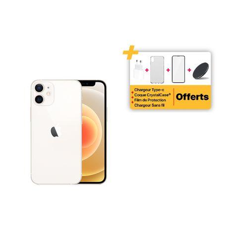 "iPhone 12 mini 5.4"" (4GB,64GB) 12MP+12MP/12MP IOS - White + pack accessoires offert"