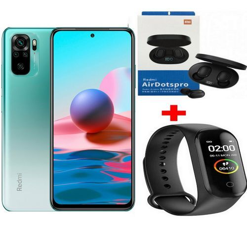 """Redmi Note 10 6,43"""" (6Go, 128Go) 48MP+8MP+2MP+2MP/13MP Android - Vert +Kit+ Band"""