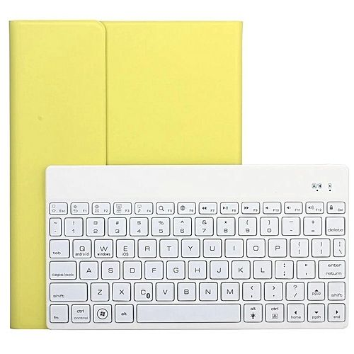 PU Case + Wireless Bluetooth Keyboard Ultra Slim Aluminum With Backlit For Ipad Air 2 (Yellow)