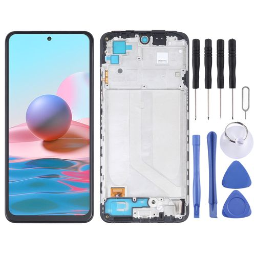 OLED Material LCD Screen and Digitiz er Fullembly With Frame for Xiaomi Redmi Note 10 4G / Redmi Note 10s 4G M2101K7AI M2101K7AG M2101K7BG M2101K7BI M2101K7BNY