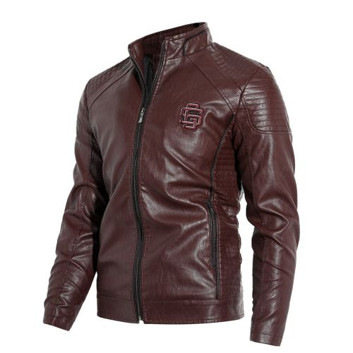 Ageneral Men Vintage Cool Jacket Leather Long Sleeve Autumn Winter Stand Collar Club Coat