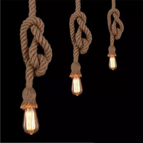Vintage Suspension Vintage Corde Edison + Lampe à Filaments ST64 LED offerte