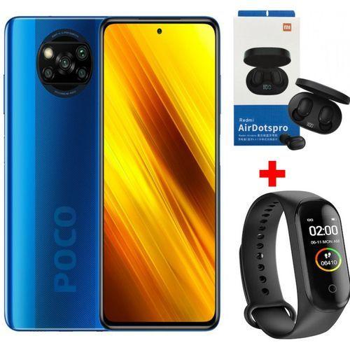 Mi POCO X3 (128 Go- 6Go ) - Snapdragon 732G - 64 MP- Blue +Band + Kit
