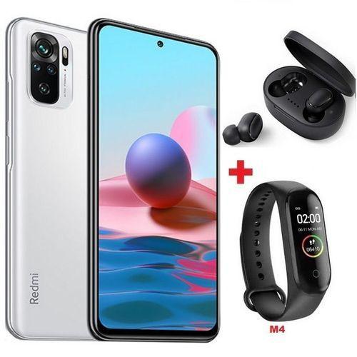 "Redmi Note 10 6,43"" (6Go,128Go) 48MP+8MP+2MP+2MP/13MP - Blanc + Band + Écouteur"