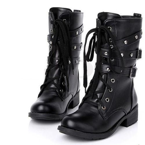 Fashion Womens Punk Motorcycle Biker Flat Ankle Boots Classic Shoes