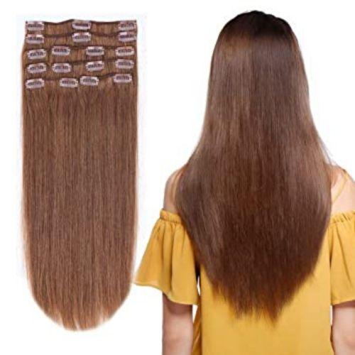 Extensions Cheveux marron Lisse à 5 Clips