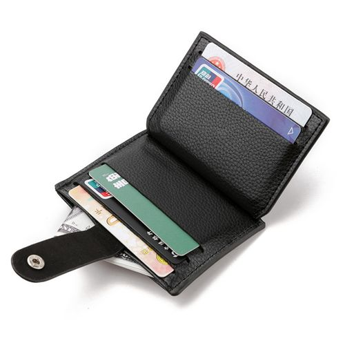 Fashion Men Faux Leather Mini Hasp Card Holder Zipper Wallet
