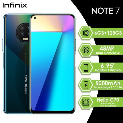 Note7, 6GB+128GB,48MP, 6.95″Infinity-O Display, HelioG70, 5000mAh,Noir Ether