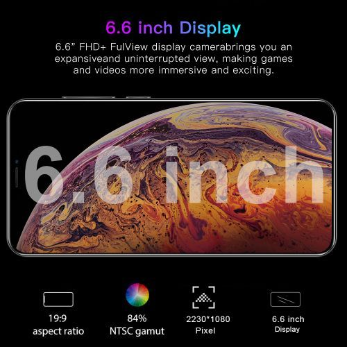 LOGY 6.6 Inch HD Water Drop Screen Face Recognition Smart Phone- White