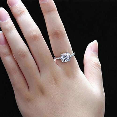 New Womens Exquisite White Sapphire 925 Silver Filled Wedding Ring Jewelry - 7