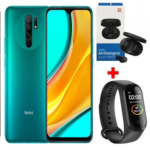 """Redmi 9 6.53"""" (4Go, 64Go) 13 MP+8 MP+5 MP+2 MP/8 MP Android - Vert+ Kit + Band"""