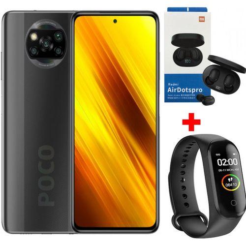 Mi POCO X3 - 6.67 ' FHD + 128 Go- 6Go - Snapdragon 732G - 64MP- Gris+Band + Kit