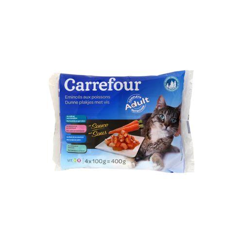 Carrefour Pâtée Emincé Poisson Chats Adulte 100G X4