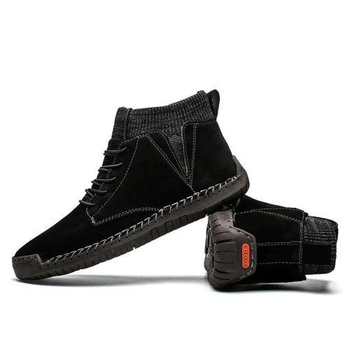 Autre Men Ankle Boots Quality Leather Shoes Warm Men's Snow Boots Winter Shoes  Fur Men's Boots Shoes Size 38-48 DJL(#Green-F).