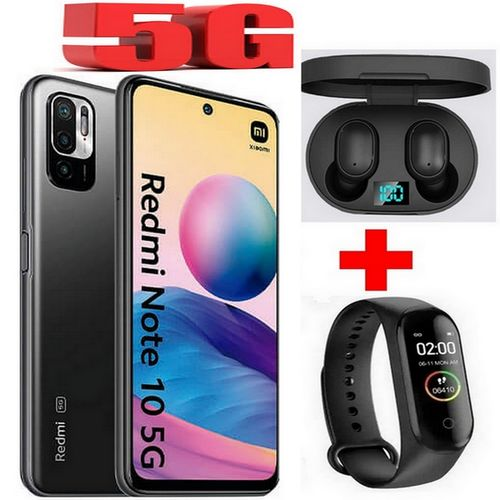 Redmi Note 10 - 5G (4Go, 128Go) 48MP+2MP+2MP - Android - Gris +Kit+ Band