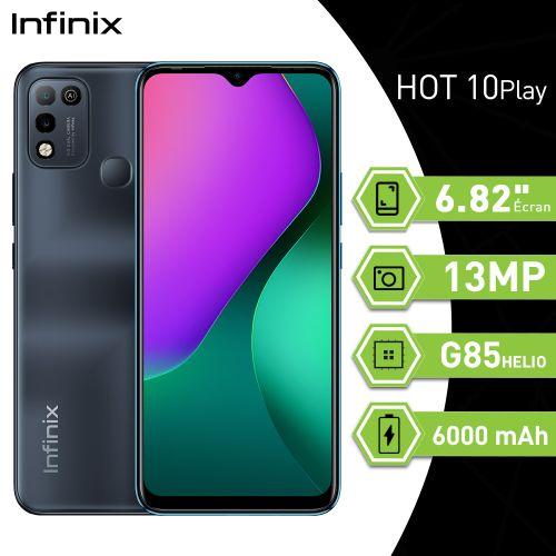 """Hot 10 Play (4GB+64GB) / Caméra 13MP/ Ecran 6.82""""HD+/ 6000mAh/ couleur Noir"""