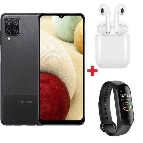 "Galaxy A12 - 6.5"" - 64Go - 4Go - Android 10 - 5000mAh - Noir + Band + Ècouteur"