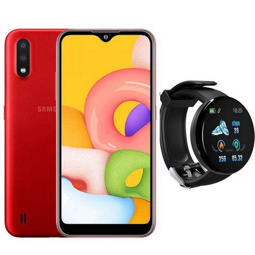 """Galaxy A01 - 5,7 """" HD + - 16Go - 2Go - Rouge + SmartWatch"""