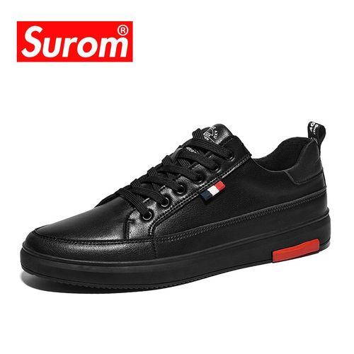 Autre Luxury Casual Men Shoes Leather Lace Up Fashion Classic Black White Sneakers Men Mesh Breathable Zapatos De Hombre(#S2876-Black)