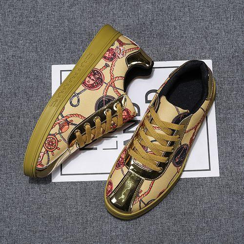 Fashion Men's plus size flat non-slip casual shoes-Gold