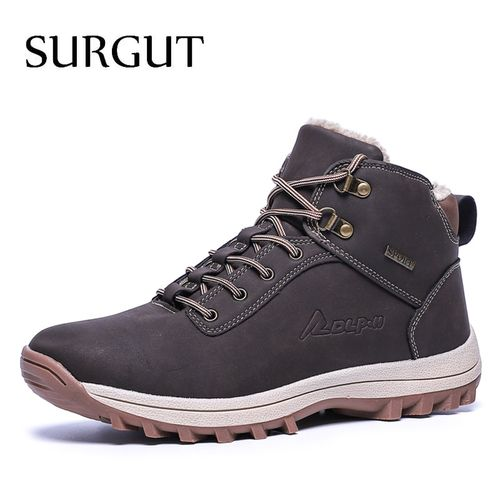 Autre SURGUT  2020 Fashion Winter Snow Boots For Men Male Casual Shoes Adult Quality Rubber High Top Super Warm Plush Warm Ankle Boots(#Autumn Black).