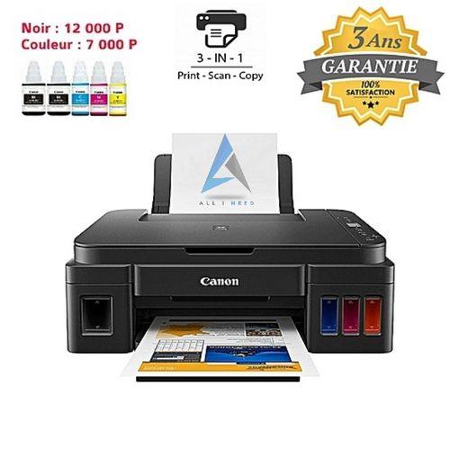 Imprimante à Réservoir Intégré PIXMA G2411 - 5 Bouteilles d'encre incluses offertes = 12000 Pages en Noir + 7000 Pages en couleur